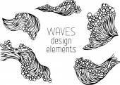 Waves symbols set — Vettoriale Stock