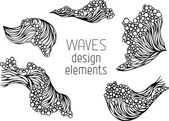 Waves symbols set — Wektor stockowy