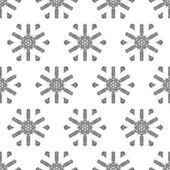 Crochet snowflakes seamless pattern. — Stock Vector