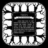Silhuetas de árvores no fundo quadrado. — Vetorial Stock