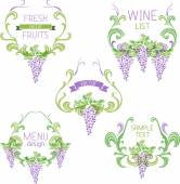 Grapes vintage wreathes — Stock Vector