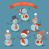 Set of retro snowmen. — Stock Vector