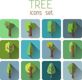 Square tree icons — Stockvector