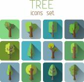 Square tree icons — Wektor stockowy
