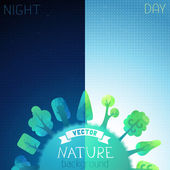 Day and night background. — Stock Vector