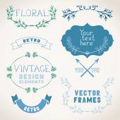 Decorations with floral elements — Stock Vector