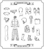 Pencil sketch of snowboard gear. — Stockvektor