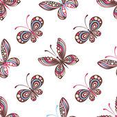 Seamless pattern of butterflies — Stock Vector