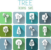 Trees square icons — Stock Vector
