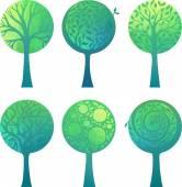 Декоративные зеленые деревья — Cтоковый вектор