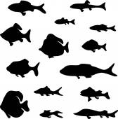 Black fish silhouettes — Stock Vector