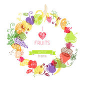 Fruits in the circle — 图库矢量图片