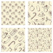 Set of seamless Christmas patterns. — Stock Vector
