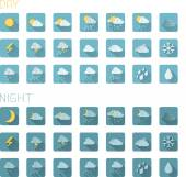 Flat weather icons — Stock Vector