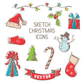 Sketch Christmas icons. — Vector de stock