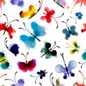Butterflies from watercolor blots. — Stock Vector