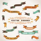 Conjunto de cintas retro. — Vector de stock