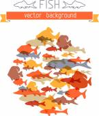 Various fishes in the circle — Stock Vector