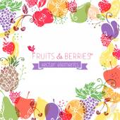 Fruits and berries background — Stock vektor