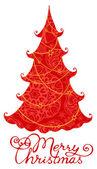 Röd julgran — Stockvektor