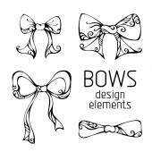 Set of hand-drawn bows. — Stock Vector