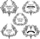 Grapes vintage wreathes. — Stock Vector