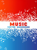 Red and blue music background. — Stock Vector