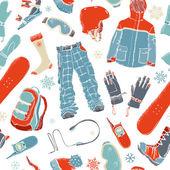 Seamless pattern of snowboard gear.  — Stock Vector