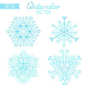 Set of watercolor snowflakes. — Stock Vector