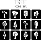 Trees  square icons. — 图库矢量图片