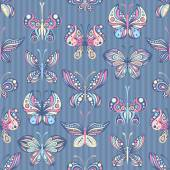 Seamless pattern of butterflies — Stock Vector