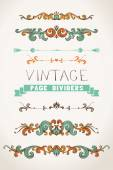 Set of vintage page dividers — Vector de stock