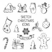 Hand-drawn Christmas icons. — Vector de stock