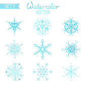 Set of watercolor snowflakes. — Stockvektor