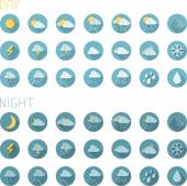 Set of round flat weather icons — Stok Vektör