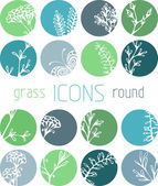 Set of grass flat icons — Stock Vector