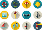 Sea summer icons — Vettoriale Stock