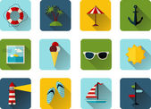 Colorful summer icons — Stock Vector