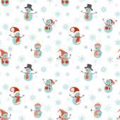 Seamless pattern of snowmen — Stock Vector