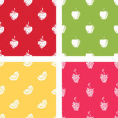 Set of seamless patterns of fruits. — Vector de stock