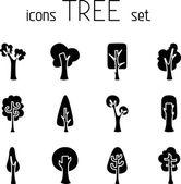 Set of 12 trees icons. — Stok Vektör