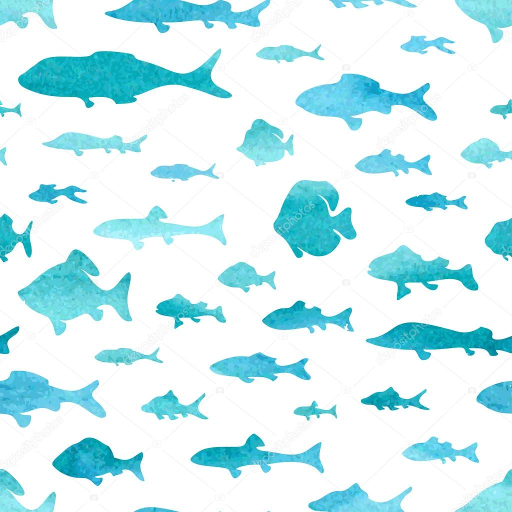 Seamless Pattern Of Watercolor Fish Stock Vector