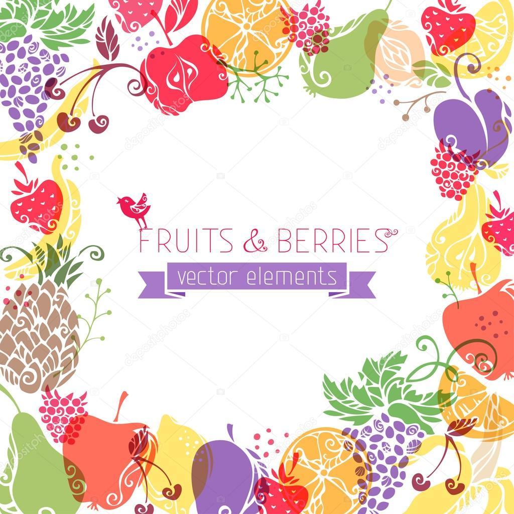 水果和浆果的背景 — 图库矢量图像08
