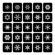Set of square black and white snowflake icons isolated on white  — Stock Vector #56155681