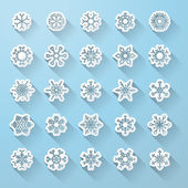 Set of flat snowflake icons with long shadow.  — Stock Vector