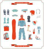 Vector snowboard gear.  — Stock Vector