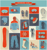 Vector set of snowboard gear with long shadow. — Stock Vector