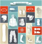 Vector set of snowboard gear silhouettes.  — Stock Vector