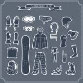 Set of snowboard clothing and kit silhouettes. — Stock Vector
