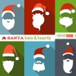 Santa hats and beards. — Stock Vector #57162167